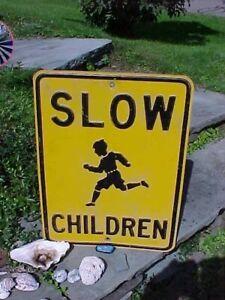 Orig 1930s SLOW CHILDREN Embossed Metal ROAD SIGN w BOY RUNNING Image 24 x 18