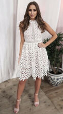 LOVE TRIANGLE @ ASOS Dusky Pink Lace Cut Out Overlay Halter DRESS UK size 10