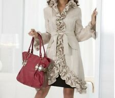 Women's Winter Fall Spring Ruffle Trench coat jacket Washable rain plus 1X new