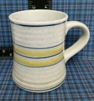 Stoneware Coffee Mug Vintage Light Grey with Blue & Yellow Bands & Blue Speckles