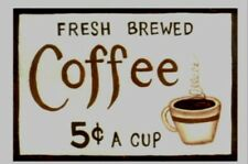 """COFFEE 5 Wood Country Kitchen retro Primitive Wooden Wall Decor Sign Plaque 6x4"""""""