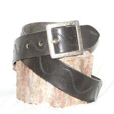 "Jenniter Graham black Leather Belt w/ stitching sz 30  & 1½"" Wide brass buckle"