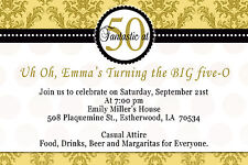 30 Damask Birthday Invitation Lady Men 50th Party Invites Gold and Black A1