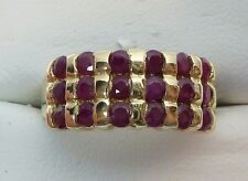 10k Y Gold 0.70 CTW RUBY Triple Row RED CLUSTER Band Ring 3.9g Ring Size 6.25