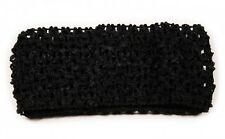 Crochet Headband  Stretchy Kylie Headband Hairband Black Set of 2 -UK SELLER