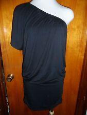 Victoria's Secret Moda International Black One Shoulder Ruched Modal Dress S New