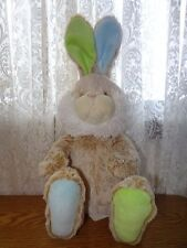 PIER ONE 1 IMPORTS ULTRA SOFT tan BUNNY RABBIT BLUE GREEN EARS PLUSH TOY 16""