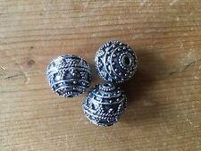 3 x 14mm white metal Bali beads