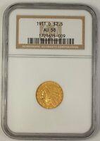 1911-D US Indian Quarter Eagle Gold Coin $2.50 NGC AU-58 **Scarce Date**