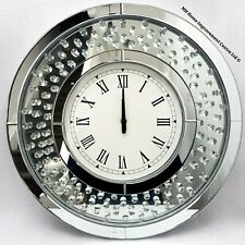Sparkly Floating Crystal Large Round Silver Mirrored Wall Clock 50cm