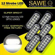 6x White 12 LED Car Truck Emergency Beacon Warning Hazard Flash Strobe Light
