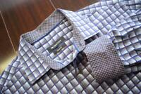 37098 Mens Bugatchi Uomo Classic Fit Plaid Button Up Dress Shirt Size Medium