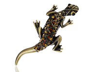 Topaz Stylish Rhinestone Gems Southwest Gecko Lizard Adjustable Jewelry Ring New