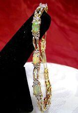 "NWOT 925 STERLING SILVER GOLD TONE OPAL & DIAMONDS LINK BRACELET 7.25"" LONG"