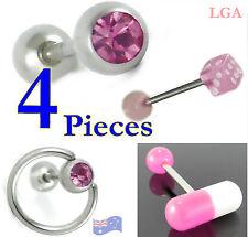 4 Tongue Bars Bolts Rings Barbells Body Piercing PINK Dice Pill Slave Gem 1each*