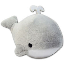 Gray Round Whale Blowing Water Soft Plush Stuffed Animals Keychain Cute New