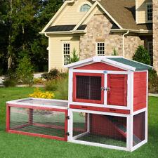"61"" Waterproof Wood Wooden Rabbit Hutch Chicken Coop Hen House Poultry Pet Cage"