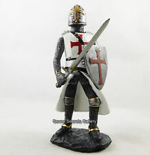 "Crusader Knight Medieval Figure 6.1/2"" High Red Cross Costume Statue Figurine"