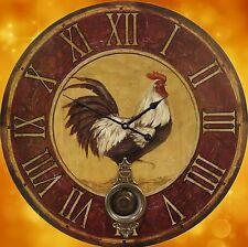 Horloge Murale Coq Bois avec Pendule Batterie Du 58 cm Vintage Esthétique