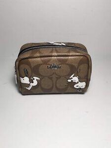NWT C4595 Coach X Peanuts Mini Boxy Cosmetic Case in Signature Canvas w/ Snoopy