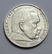 RARE GERMAN 5 MARK Reichsmark 1935 F Silver COIN EAGLE Hindenburg Nazi 3RD WW2