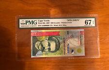 Cape Verde 500 Escudos 2007 P-69s SPECIMEN> Graded PMG 67 Superb GEM UNC