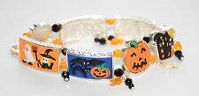 Halloween Stretch Bracelet / Silver-tone / Pumpkin ~ Witch ~ Ghost ~ Spider Web