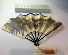 Japanese Decorative Fan of Kyoto Bamboo Paper Wood Japan In Box