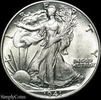 1941 Walking Liberty Silver Half Dollar ~ AU About Uncirculated ~ US Coin MQ