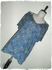 Chaps Bohemian Boho Blue Floral Paisley Peek A Boo Shoulder Blouse 2X