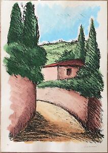 Sereni  litografia colorata a mano 50x35 paesaggio Fiorentino B firmato