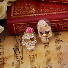 2 Pairs Women Skull Head Ear Studs Earrings Gold Filled Gothic Crystal Jewelry