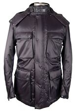 AUTHENTIC BELSTAFF WINTER HOODED PARKA LEATHER TRIM FASHION JACKET MADE IN ITALY