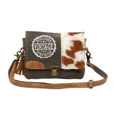 Vintage Stamp Upcycled Canvas & Cowhide Leather Messenger Bag-Back Zip Pocket