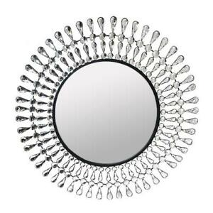 "Metal Round Wall Mirror Crystal Wall Decor Mirror Crystal Mirror 28""D Home Decor"