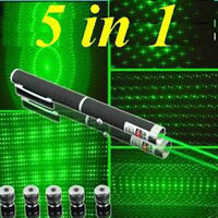 5 in 1 5MW 532nm Green Laser Pointer Apresentador Light Beam Lazer Puntero Pen