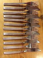 6 Vintage Viner's Stylish EPNS Silver Plate Fish Knives and Forks