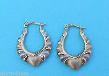 Ladies Brushed Droop Hoop Heart Earrings  - 14k Yellow & White Gold - Snap Clasp