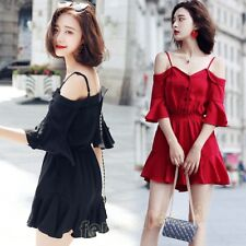 Women Girl Summer Chiffon One-shoulder Overall Shorts Jumpsuit Romper Suspenders