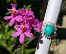 Magnificent Turquoise Ring Surrounded by Clear CZ on 925 Silver Base (Size 9)