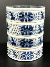 Rare Blue & White Four-section Porcelain Box Qianlong (1736-1796)(乾隆é�'èŠ ±èŠ±å�‰æ–‡æˆ¿å››èŠ'盒)