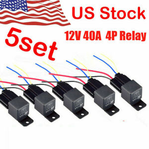 5 Pack 12V 30/40 Amp 4-Pin SPST Automotive Relay with Wires & Harness Socket Set