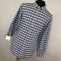 Charles Tyrwhitt XL Shirt Blue Pink Plaid Button Down Flip Cuff Classic Fit  V2