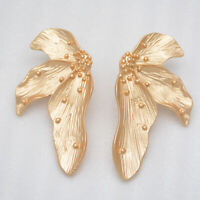 infeein jewelry matte gold tone large flower post stud pierced earrings unique