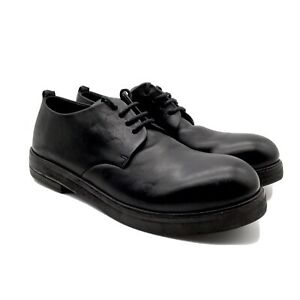 Marsell Zucca Zeppa Derby Italian Made Black Leather Derby Oxfords. Size 41