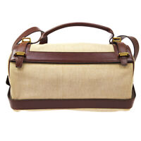 HERMES Vintage 2way Hand Bag ◯G Z Beige Brown Toile GM Leather France 60343