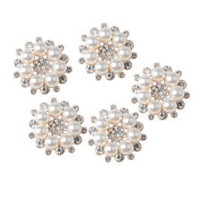 5pcs Crystal Diamante Pearl Flower Flatback Buttons Craft Embellishment 27mm