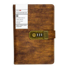 Faux Leather Diary Journal with Code Lock for Boys Brown A5, Lined Page Notebook