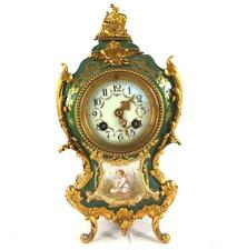 ANTIQUE FRENCH PORCELAIN AND & GILT BRONZE MOUNTED CLOCK  VICENTI & CIE MOVEMENT
