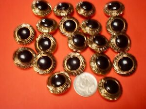 20 black/gold shank buttons size 25mm